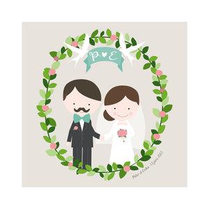 Bröllopstavla krans