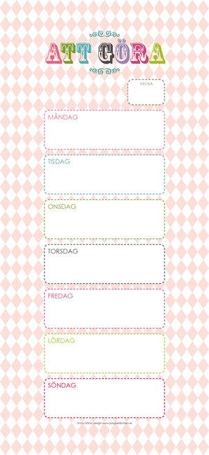 Veckokalender / veckomeny