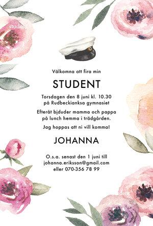 Studentkort Floral ljus pastell