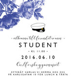 Studentkort Blå blom
