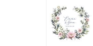 Rosa blommor krans